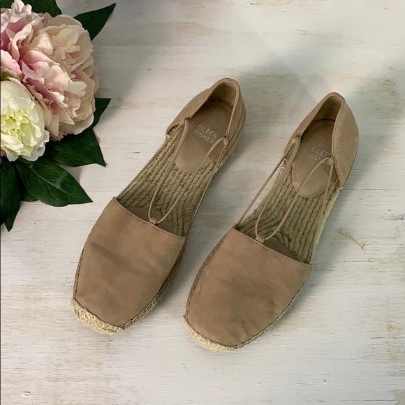 Eileen Fisher Latte Lee Espadrille Flat Size 10